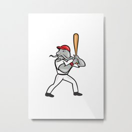 Catfish Baseball Hitter Batting Full Isolated Cartoon  Metal Print
