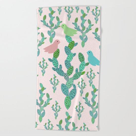 Birds and cacti Beach Towel