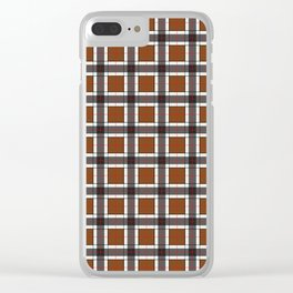 Chocolate Brown Plaid Pattern Clear iPhone Case