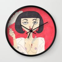 mia wallace Wall Clocks featuring Mia Wallace (Pulp Fiction)  by LoveCats