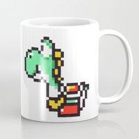 yoshi Mugs featuring yoshi by Walter Melon