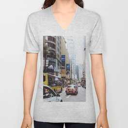 Hong Kong City Streets, Red Taxi, downtown Unisex V-Neck