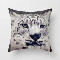 snow leopard Throw Pillows featuring Snow Leopard by Angela Dölling, AD DESIGN Photo + Photo