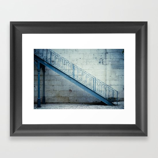 the blue stairs Framed Art Print