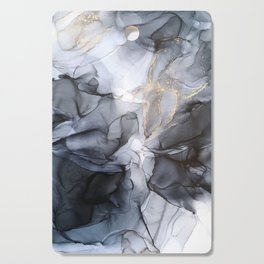 Calm but Dramatic Light Monochromatic Black & Grey Abstract Cutting Board
