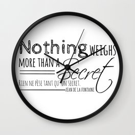 Nothing weighs more than a secret. Wall Clock