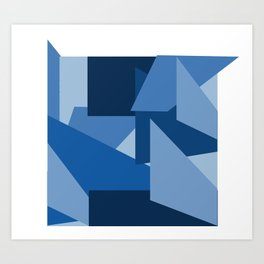 Blu-Geometric Art Print