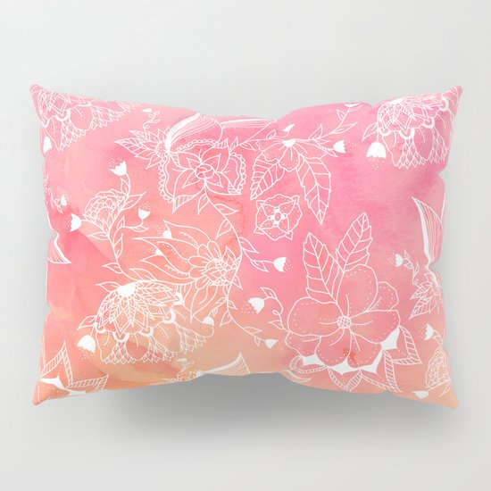 Modern summer white floral mandala illustration on pink orange sunset watercolor Pillow Sham by ...