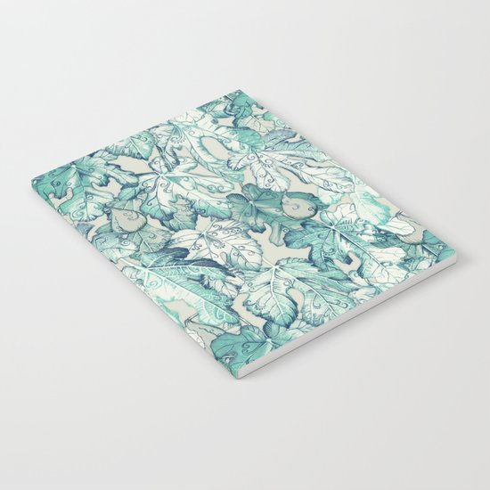 Fig Leaf Fancy - a pattern in teal and grey Notebook