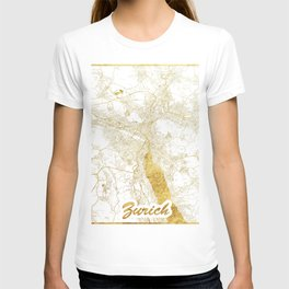 Zurich Map Gold T-shirt