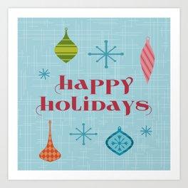 Mid Century Happy Holidays Art Print