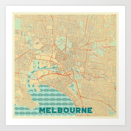 Melbourne Map Retro Art Print