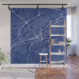 Knoxville Map, USA - Blue Wall Mural