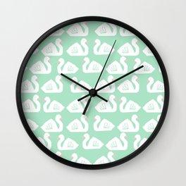Swan minimal pattern print mint and white bird illustration swans nursery decor Wall Clock