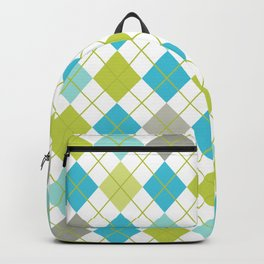 Retro 1980s Argyle Geometric Pattern in Modern Bright Colors Blue Green and Gray Backpack