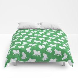 Samoyed Pattern (Green Background) Comforters