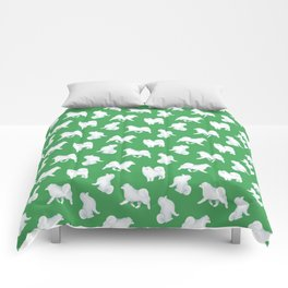 Samoyed Pattern (Green Background) Comforters