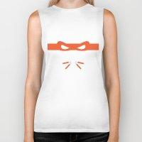 ninja turtles Biker Tanks featuring Orange Ninja Turtles Michelangelo by &joy