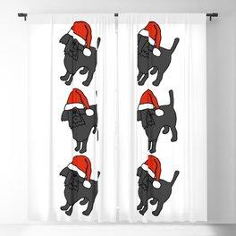 Cute dog wearing a Santa hat Blackout Curtain