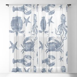 Delft Blue nautical Marine Life pattern, coastal beach Sheer Curtain