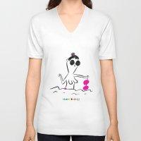 "bikini V-neck T-shirts featuring Bikini by Abel Jiménez  ""Samerdudels"""