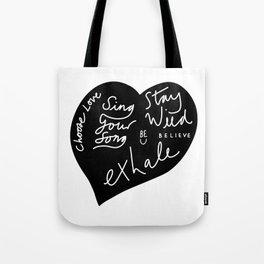 Black and White Love Heart Tote Bag