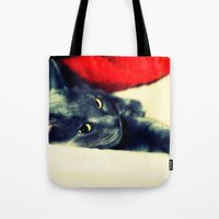 meditation Tote Bags featuring Meditation by Klara Acel