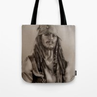 jack sparrow Tote Bags featuring Captain Jack Sparrow by Svartrev