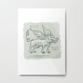 Wild Boar Wings Side Etching Metal Print