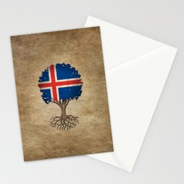 Vintage Tree of Life with Flag of Iceland Stationery Cards