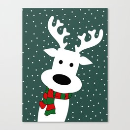 Reindeer in a snowy day (green) Canvas Print