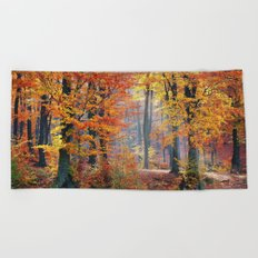 Colorful Autumn Fall Forest Beach Towel
