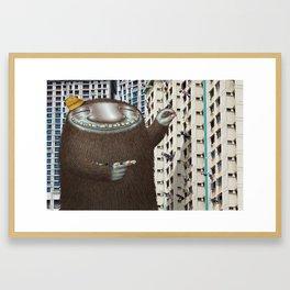 Friendly Laundry Monster in Singapore Framed Art Print