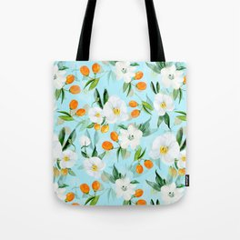 mediterranean summer kumquat and orchid branches on turquoise Tote Bag