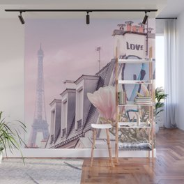 Paris with its Eiffel Tower and Magnolias - Vintage Romantic Wall Mural