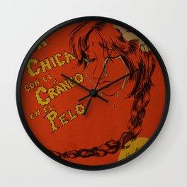La Chica con el Craneo en el Pelo: The Girl With a Skull In Her Hair Wall Clock