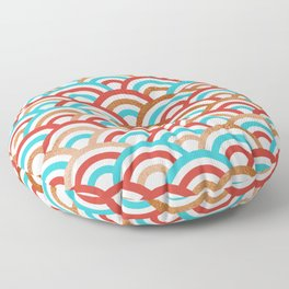 Japanese Seigaiha Wave Gold & Turquoise Floor Pillow