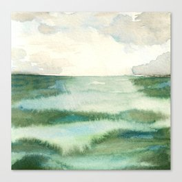 Emerald Sea Watercolor Print Canvas Print