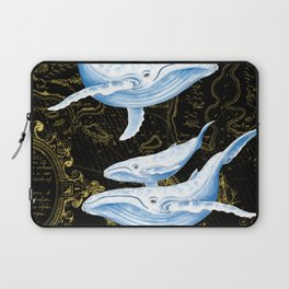 Blue Whales Family Golden Black Chic Laptop Sleeve
