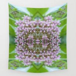 Kaleidoscope Pink Milkweed Flower Macro Photograph Wall Tapestry