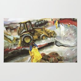 Blue whale on Second Beach, dissection with back-hoe, No. 1 - Middletown Rug