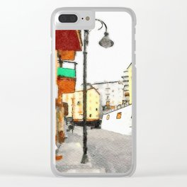 Glimpse with buildings and street lamp Clear iPhone Case