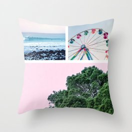 Summer Carnival Collage Throw Pillow