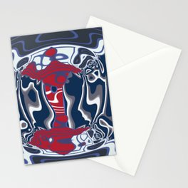 Red, Bright White, Silver Gray, Navy Blue Swirls (1970's Vintage) Stationery Cards