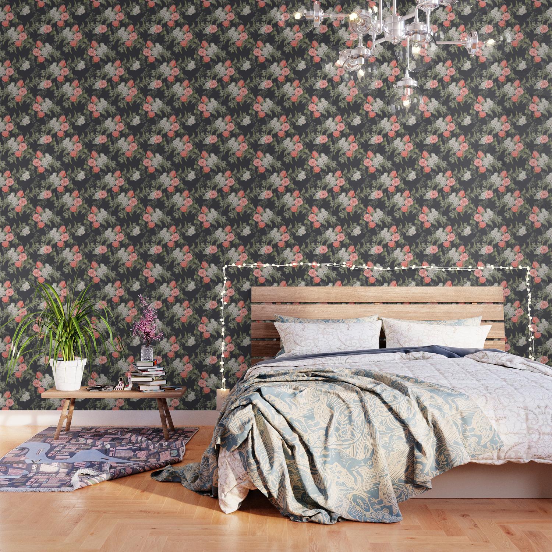 The Master Gardener Dark Floral Wallpaper By Malapitdesign Society6