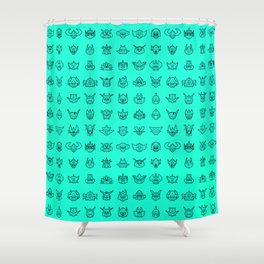 071 70s Robot [cyan] Shower Curtain