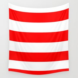 Wide Horizontal Stripes - White and Red Wall Tapestry