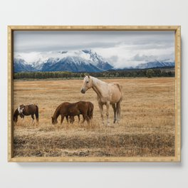 Mountain Horse - Western Style in the Grand Tetons Serving Tray
