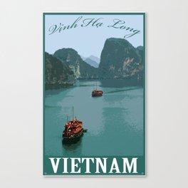 Vinh Ha Long (Ha Long bay) Vietnam Retro Travel Canvas Print