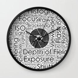 Photography Terms  Word Cloud Lens Shutter Wall Clock